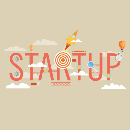 new start: Start Up Concept Composition - Flat Design
