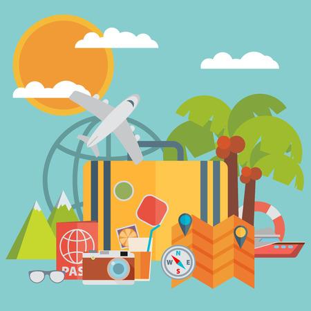 Travel background. Flat vector illustration. Vector