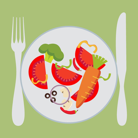 keeping fit: Flat design colorful vector illustration concept for pleasure of eating vegetarian food, dieting, weight loss, keeping fit, healthy nutrition, restaurant menu isolated on bright background
