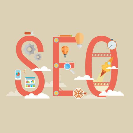 Platte ontwerp moderne vector illustratie concept van het SEO-woord gecombineerd uit elementen en pictogrammen die een succes internet zoeken optimalisatieproces gesymboliseerd. Geïsoleerd op stijlvolle gekleurde achtergrond Stockfoto - 35981605