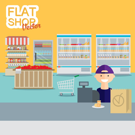 Supermarket in flat design.