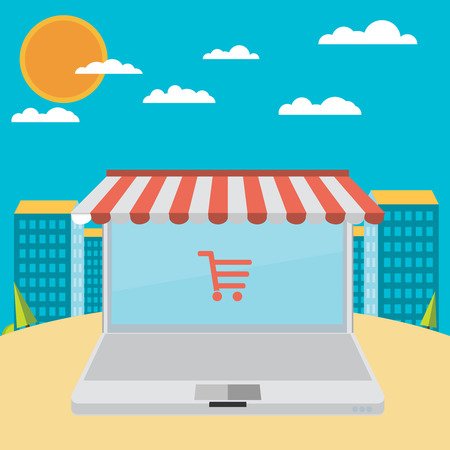 carport: On line store. Sale, Laptop with awning Illustration