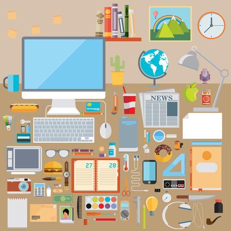 articulos oficina: Piso moderno dise�o de ilustraci�n vectorial concepto de escritorio escuela creativa, espacio de trabajo, lugar de trabajo. Colecci�n de iconos de colores elegantes del proceso educativo, art�culos de oficina, herramientas, dispositivos, elementos, objetos
