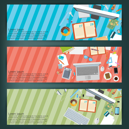 flat style business concept of working place