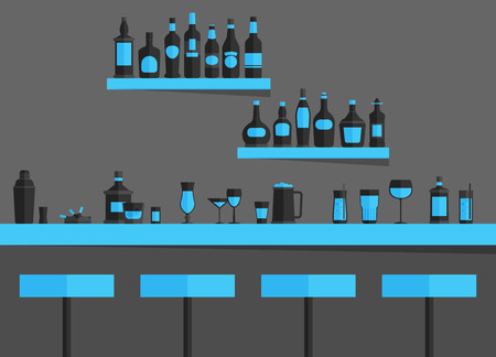 stools: Bar counter with stools and alcohol drink on shelves flat vector illustration