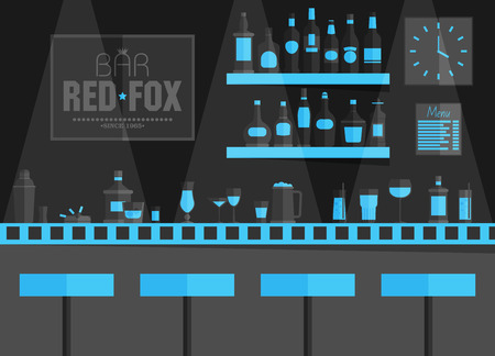 bar counters: Bar counter with stools and alcohol drink on shelves flat vector illustration