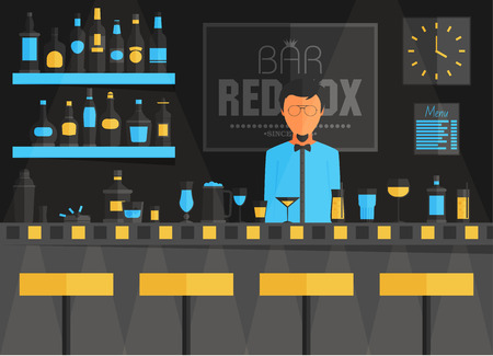 stools: Bar counter with barman, stools and alcohol drink on shelves flat vector illustration Illustration