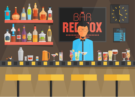 bar: Bar counter with barman, stools and alcohol drink on shelves flat vector illustration Illustration