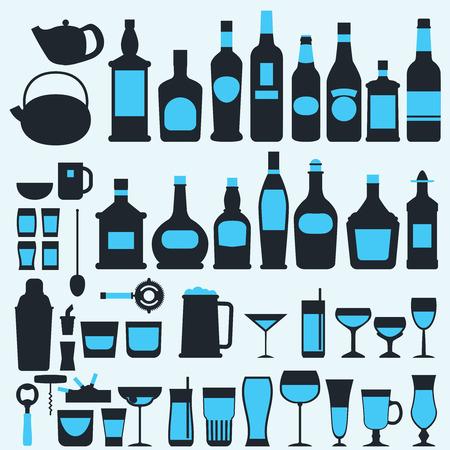 botella de licor: Alcohol bebidas conjunto de iconos de estilo plano, ilustraci�n vectorial