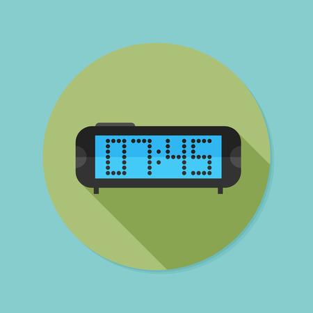 digital clock: Digital clock. Flat icon with long shadow. Illustration