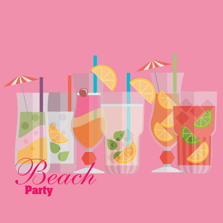 Cocktail drink fruit juice in flat design style. Retro style holiday cocktails. Set of alcoholic cocktails Vector
