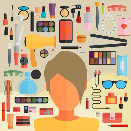 perfumery concept: Tools for makeup. Flat design.