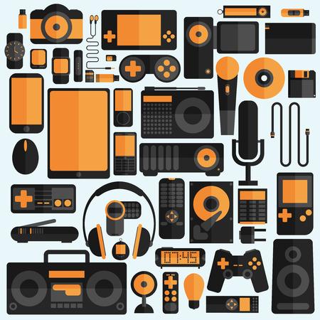 electronic music: Electronics and gadgets icons set Illustration