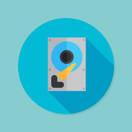 disco duro: Unidad de disco duro. Icono de plano con larga sombra.