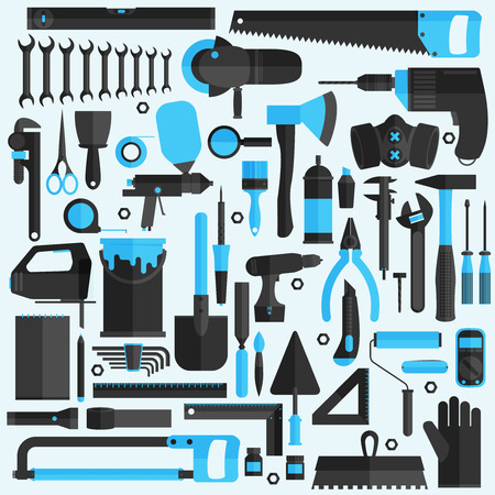 Hand tools icon set , flat design , vector format