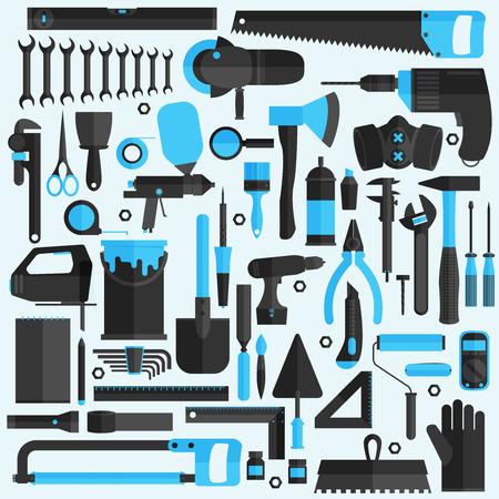 Hand tools icon set , flat design , vector format
