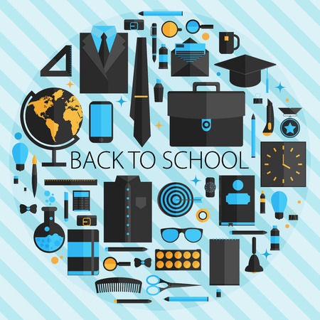 Flat design vector illustration concept of school and equipment devices on stylish background. Vector