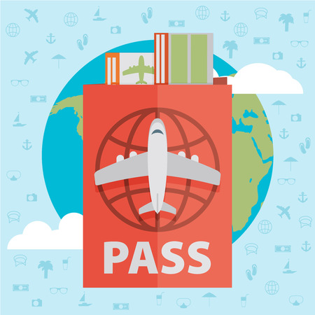 airliner: Vector modern flat design web icon on airline tickets and travel with jet airliner flying, passport, boarding pass ticket and globe with clouds | Airfare booking square printable