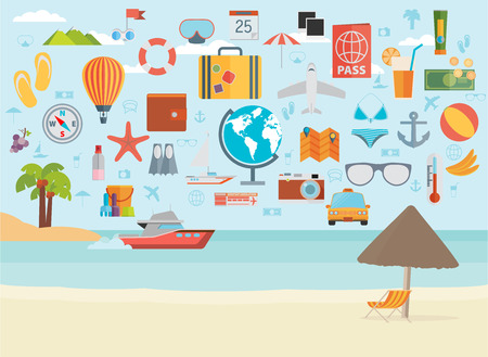 summer vacation: Travel vacation flat design set. Vector concept illustration. Travel banner.