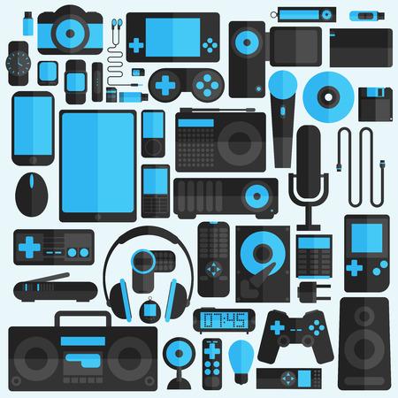 gadgets: Electronics and gadgets icons set Illustration