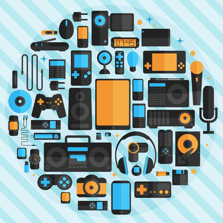 card game: Electronics and gadgets icons set Illustration