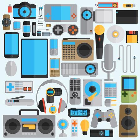 clock radio: Electr�nica y Gadgets iconos conjunto Vectores