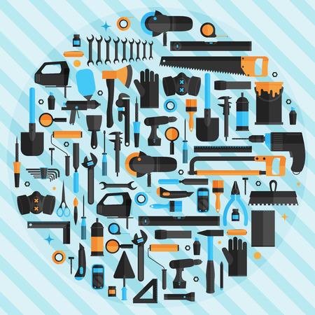 Hand tools background, flat design ,vector format Ilustração