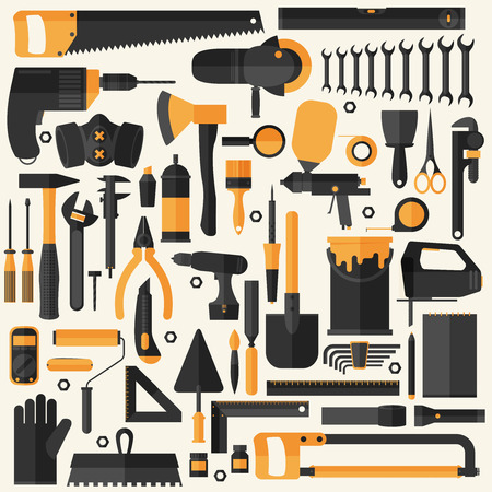 Handgereedschap icon set, platte ontwerp, eps10 vector-formaat Stock Illustratie