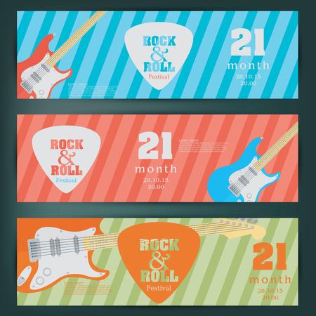 pickups: Electric guitar banner background. vector illustration