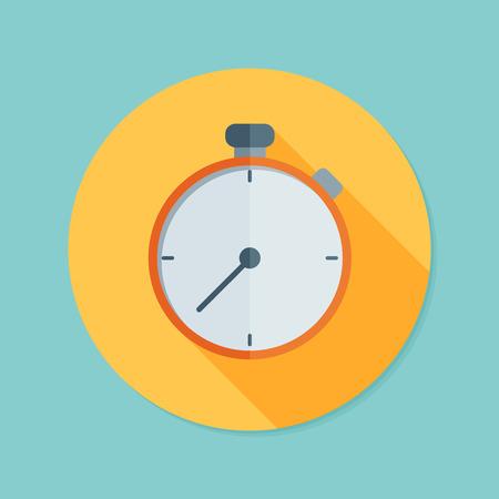 Stopwatch. Flat icon with long shadow. Ilustração