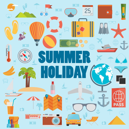 summer holidays: Summer holiday flat icons with lettering. Vector illustration