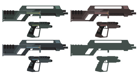 futuristic pistol: Futuristic Sci-Fi Assault Beam Rifle and Pistol Illustration