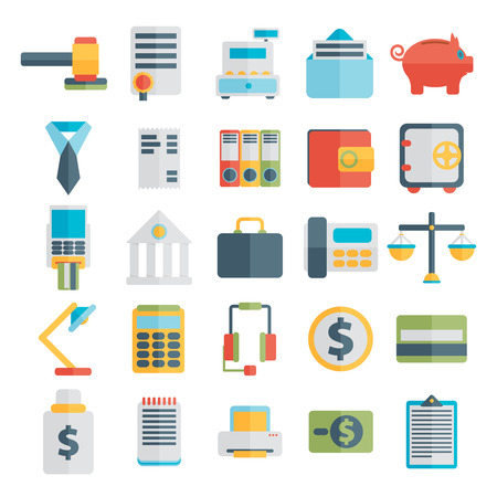 cash register building: Modern design vector illustration flat icon set  style of financial service items, business management symbol, banking accounting and money objects