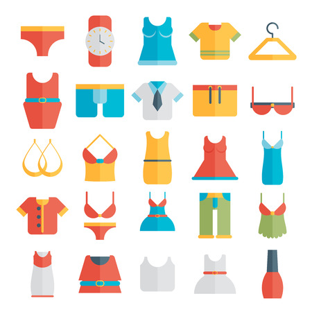 women   s clothes: Clothing Icons - Illustration flat.
