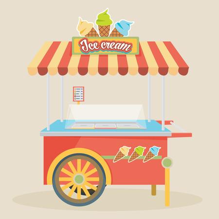 ice cream cart: Shiny colorful ice cream cart vector illustration. Awesome creative concepts, icons, elegant stylish design graphic elements,beautiful art.