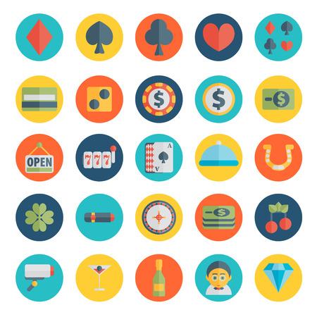 fichas casino: Conjunto de iconos de casino en diseño plano