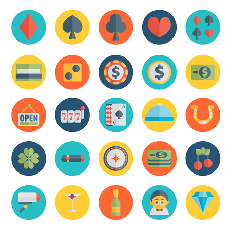 plain button: Set of casino icons in flat design