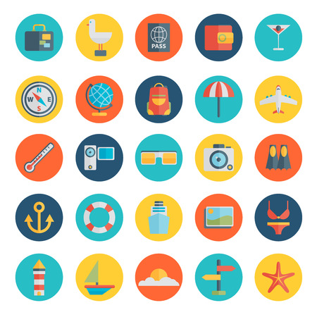 tourism icon: Modern flat icons vector collection in stylish colors of traveling, tourism and vacation theme Illustration