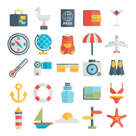 Modern flat icons vector collection in stylish colors of traveling, tourism and vacation theme Ilustração