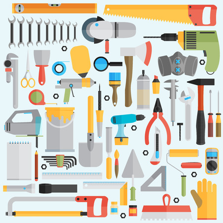 Reparatie en de bouw illustratie met werkende hulpmiddelen pictogrammen. Stock Illustratie