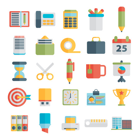 chancellery: Set of office icons in flat design