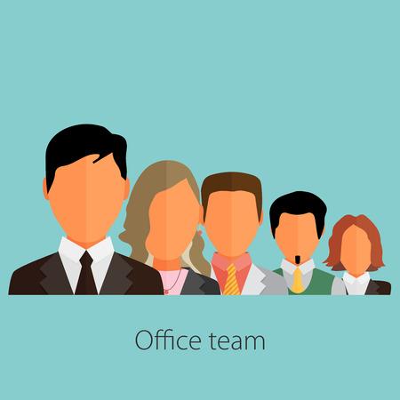 business people group color profile human resources team flat design vector illustration over blue background Illustration
