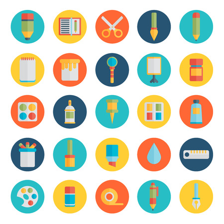 fine art: Colored flat design vector illustration icons set of art supplies, art instruments for painting, drawing, sketching