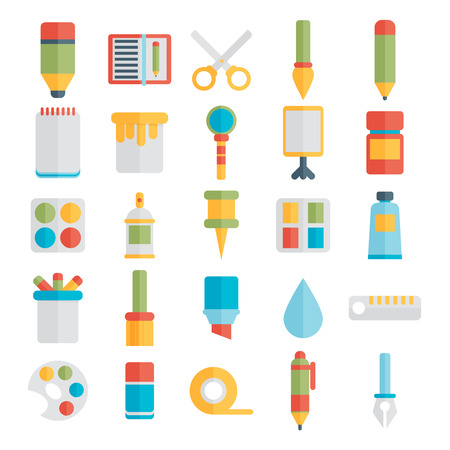 art supplies: Colored flat design vector illustration icons set of art supplies, art instruments for painting, drawing, sketching