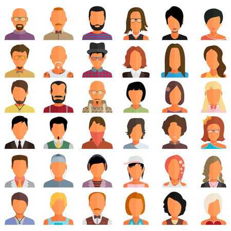 women and men: Set of people icons in flat style with faces. Vector women, men character
