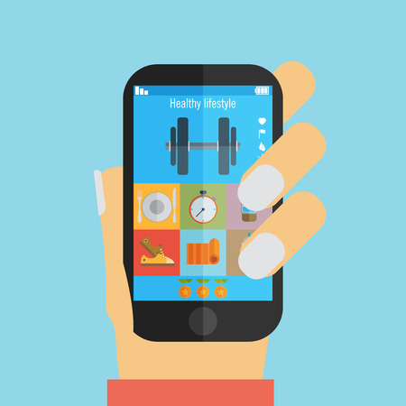 Hand holding a phone with weight lifting application scheduler vector illustration