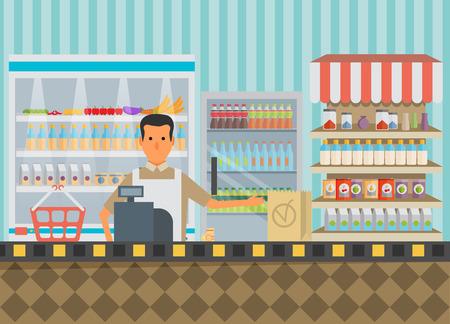 supermercado: Supermercado en diseño plano.