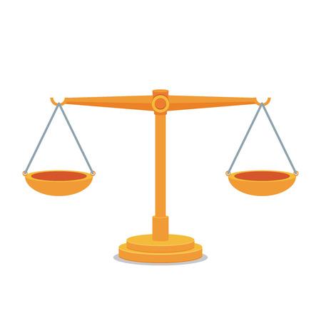 Scales balance icon. Flat design. Vettoriali