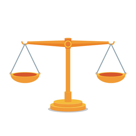 sentence: Scales balance icon. Flat design. Illustration