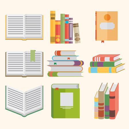 평면 디자인 스타일 책 아이콘의 집합입니다.